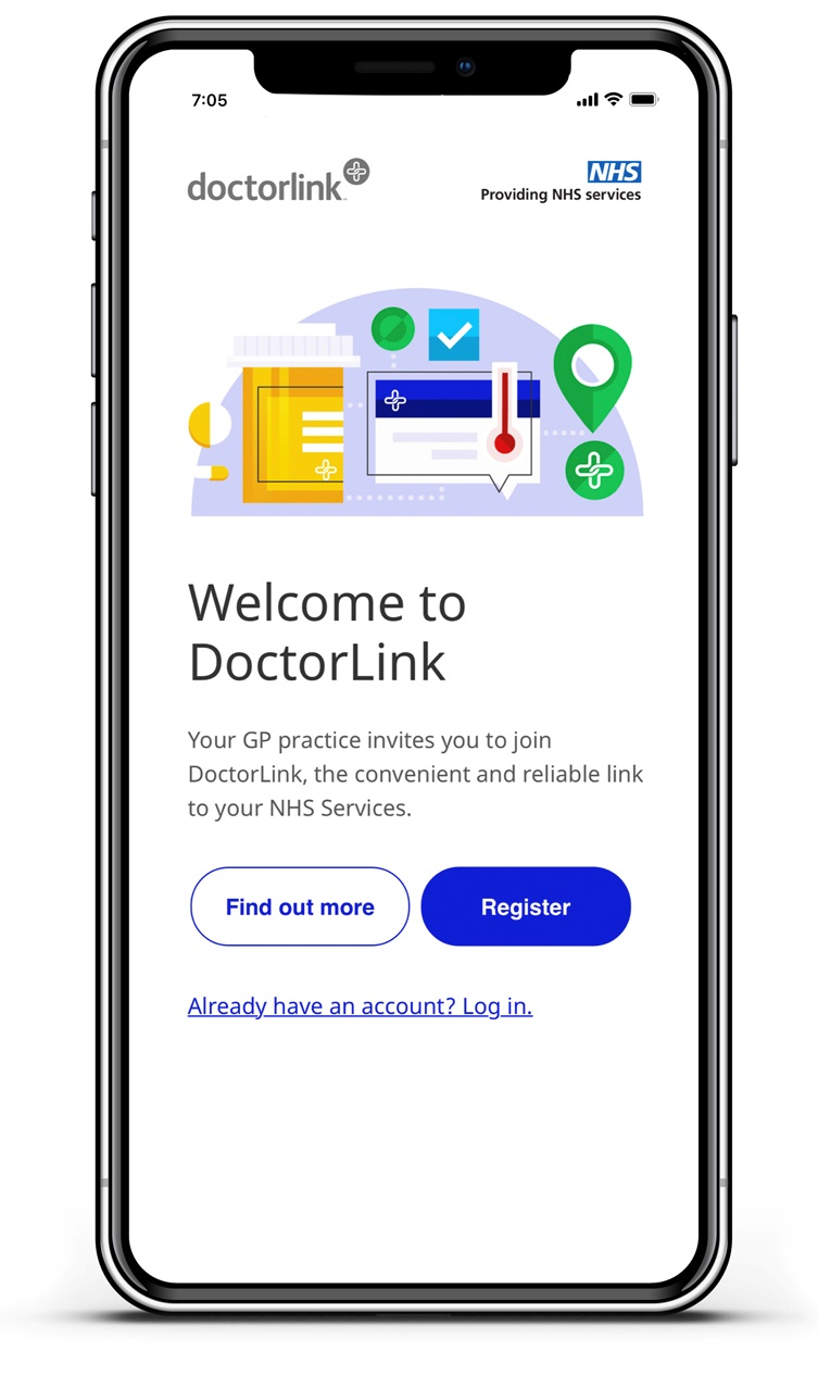 Graphic showing doctor link app on mobile phone