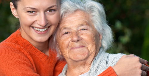 Older lady with carer